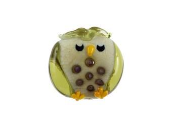 Ollie The Owl - Glass Lampwork Owl Bird Bead