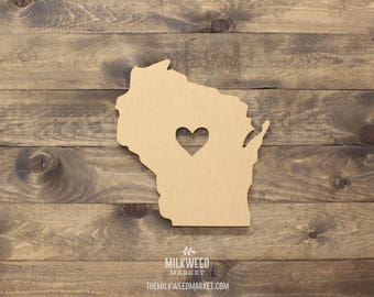 Wisconsin State Shape with Heart Cutout Sign