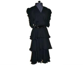 Black Dress Vintage Kristina // 1980's Ruffled Dress with Sequins // Power Dressing