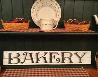 Bakery Sign, Primitive Bakery Sign, Rustic Bakery Sign, Weathered Sign, Wood Bakery Sign, Wood, Bakery, Sign, Primitive, Rustic, Farmhouse