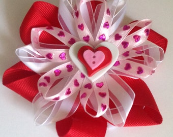 Valentines Day Collar Bow With Hearts for Dog or Cat