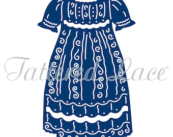 """Tattered Lace Dies BABY THEME ~ Christening Gown 2.05"""" x 3.23"""" TTLETL434"""