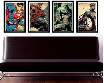 Superheroes poster set. Superman, Spiderman, Batman, Captain America. 11x17