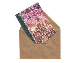Bohemian Notecard   Dusk Sky Pink Brown Note Card   Postage Stamp Collage, Boho Penpal Mail Art Print   Blank Any Occasion A6 Greeting Card