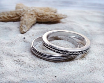 Thin Silver Rings Stackable Rings Simple Minimal Jewelry Silver Band