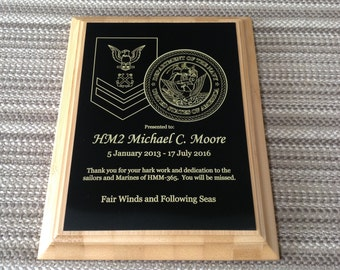 Custom Plaques Marine Corps, Navy, Air Force, Army, Coast Guard Law Enforcement, Fire/Rescue