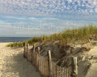 3 Purple Beach Umbrellas (Seaside Fenced Dune Path in End of Summer Golden Light Beach House Wall Art Photography)
