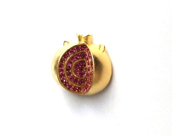 1pc- Matte Gold plated RED Swarowski Pomegranate charm-25x22mm-(005-043GP)