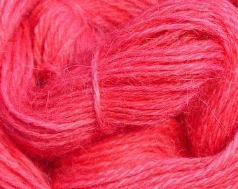 Hand Dyed Alpaca Yarn in Dark Pink - Finger Wt - 250 yds