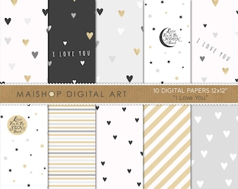 Valentine's Digital Paper 'I Love You' Elegant and Romantic Gray, White and Gold Printable Papers for Scrapbook, Card Making, Crafting...