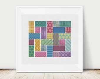 Geometric Maze, Cross Stitch Pattern, PDF, Instant Download