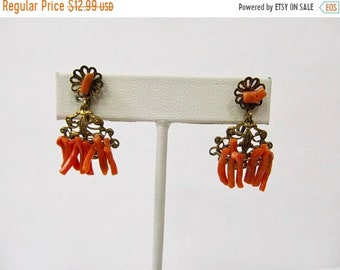On Sale Vintage Genuine Coral and Brass Dangle Earrings Item K # 1527