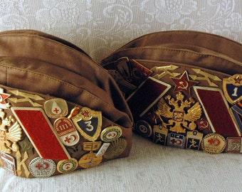 2 soldado ruso militar Pilotka sombrero con insignias rusas