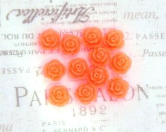 12 Neon Orange Rose Cabochon Neon Orange Flower Cabochon 11mm Rose Cabochon Earring Supplies