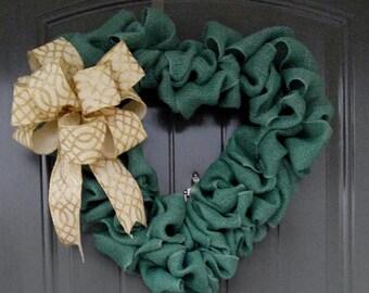 Green Heart Wreath, Door Wreath, Love Door Wreath, Wreaths, Heart Shaped Wreath