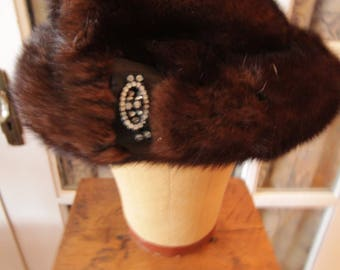 "Vintage 1950's Dark Brown ""Turban"" Style Mink Hat"