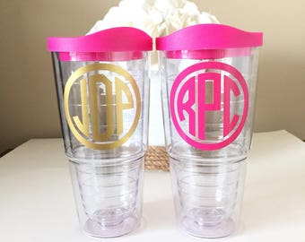 Sale! Large 24oz Personalized Tumbler, Monogrammed, Pink Lid, Double Walled/BPA Free