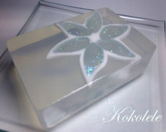Crystal Blue Flower Handmade Soap