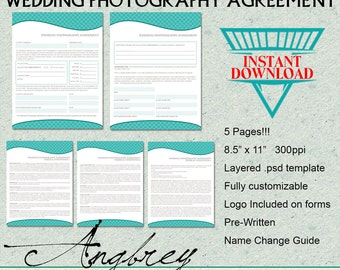 Wedding Contract Agreement Form, Information Form for Photographers, Photoshop Template, Instant Download (6 Pages)