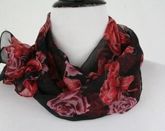 Vintage Roses Sheer Oblong Scarf