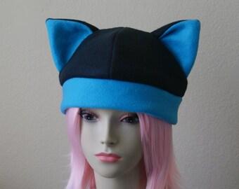 Fleece Cat Hat / BLACK + BRIGHT BLUE Beanie Style Cap Cute Anime Neko Cosplay Cat Ears Kitty Ears Kawaii Jrock Goth Punk Japanese Fashion