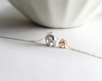 New Mom Necklace. Elephant jewelry. Elephant necklace, Two tone Elephant Necklace.New mother Necklace ,Gift for New Mommy.Mom,Mother Babe.