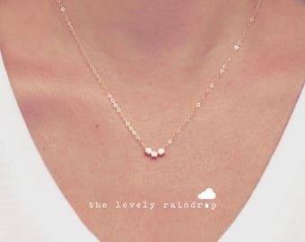 SALE - Tiny Gold Bead Necklace - Simple - Minimalist Minimal Dainty Gift for - Accessories Layering Necklace -The Lovely Raindrop