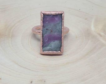 Ruby ring / ruby baguette copper electroformed ring / boho hippy ring
