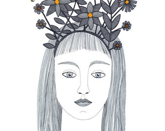 Original art drawing, Original pen and ink illustration,  Woman with foliage tiara, Ink and watercolor butterfly and flowers drawing