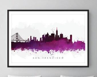 San Francisco Skyline, San Francisco California Cityscape Art Print, Wall Art, Watercolor, Watercolour Art Decor – SWSFO08