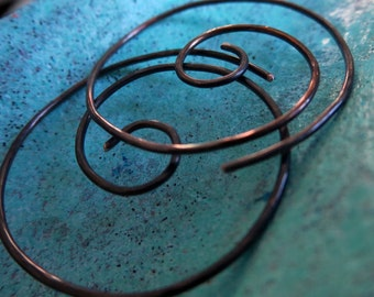 Free Shipping Item. Small Hoops. THINNIER. Small Swirl Hoop Earrings with hammered surface in  20 gauge Oxidized copper wire