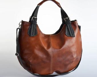 Leather HOBO Bag, Leather Shoulder Bag, Cross Body Handbag, Large Hobo, Leather Purse, Everyday Shopper Bag, Leather Bag, Gift, Brown Hobo
