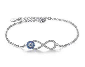 925 Sterling Silver Evil Eye infinity Aquamarine Cubic Zircon Crystal Bracelet