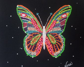"Dot Pointillism, Whimsical, butterfly, 8""x8"" black, board, unframed, original, pointillist, pointillist artwork, dot art"