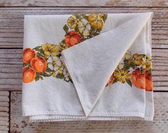 Vintage Tablecloth /  Peach Fruit Floral / Vintage Linens