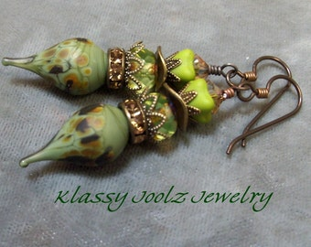 Lampwork Beaded Earrings-Organic Artisan Earrings-Artisan Lampwork Headpin Earrings-Brass Earrings-Boho Earrings-SRAJD-Artisan Beads