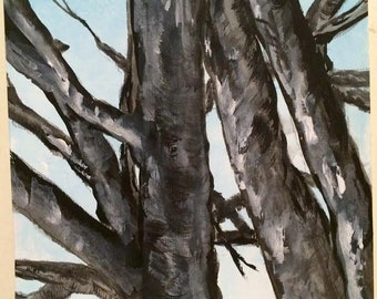 PaintATreeADay ART Winter Tree  Scene Original Acrylic Painting on Heavy Duty Watercolor Paper by BeckyPaints