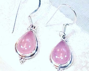 Pink Opal Earrings In Sterling Silver Handmade Jewelry By NorthCoastCottage Jewelry Design & Vintage Treasures