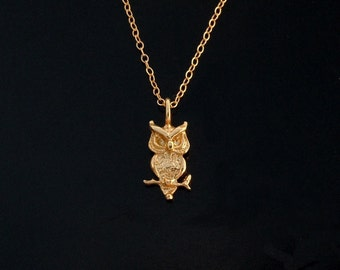 Owl Necklace in Gold