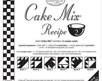 Moda Cake Mix Recipe Card 2 - Quilt Pattern - Foundation Piecing - Layer Cake Foundation Papers - Easy Paper Piecing - Half Square Triangles