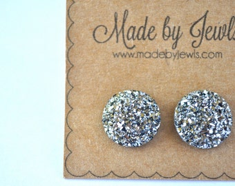 Gunmetal Metallic Dark Silver Faux Druzy Stone Handmade Hypoallergenic Button Post Stud Earrings 10mm
