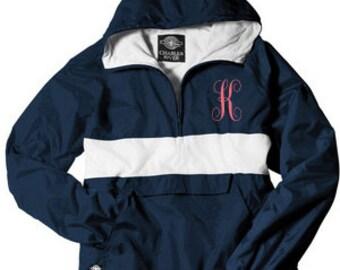 Monogrammed Rain Jacket Pullover, Personalized Rain Jacket Pullover, Lined Jacket Pullover, Stripe Jacket Pullover~ 10 colors - Windbreaker