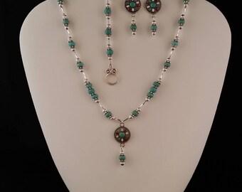 Turquoise Southwest Necklace, Bracelet and Earring Set