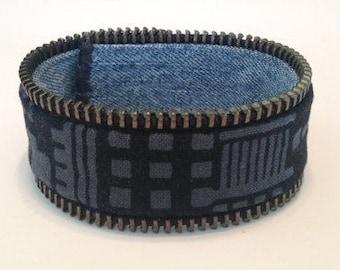 Réversible de Bracelet urbain impression/denim - fermeture à glissière