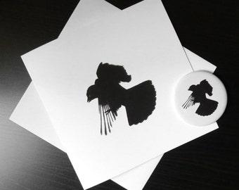 Crow gift set, crow card, crow mirror, makeup mirror, purse mirror, stocking filler, wedding favour, party favour, gothic mirror, gift