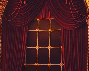 Photo Print - Dramatic Theater Window, Velvet Drapes, Theatre, Arched Window, Wang Theater, Boston, MA