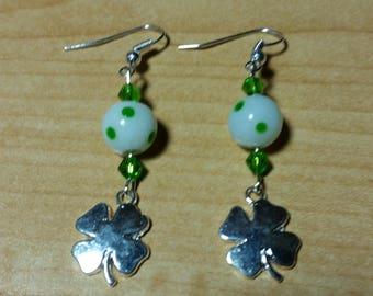 St. Patrick's Day Shamrock Earrings  - Handmade Beaded Dangle Drop Earrings