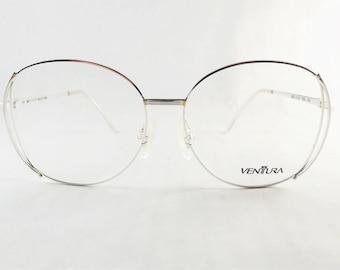 Silver Eyeglasses, Big Round Glasses, Womens Round Eyeglass Frames, Metal Vintage Eyewear, New Old Stock