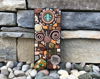 Reduce. Reuse. Recycle. (Upcycled Starbucks Cap Flower Series Mixed Media Mosaic by Shawn DuBois)
