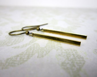 Brass Bar Earrings, bar jewelry, raw brass jewelry, minimalist earrings, modern earrings, brass earrings, simple earrings, E10269